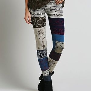 NEW FREE PEOPLE SWEATER KNIT LEGGINGS PATCHWORK L